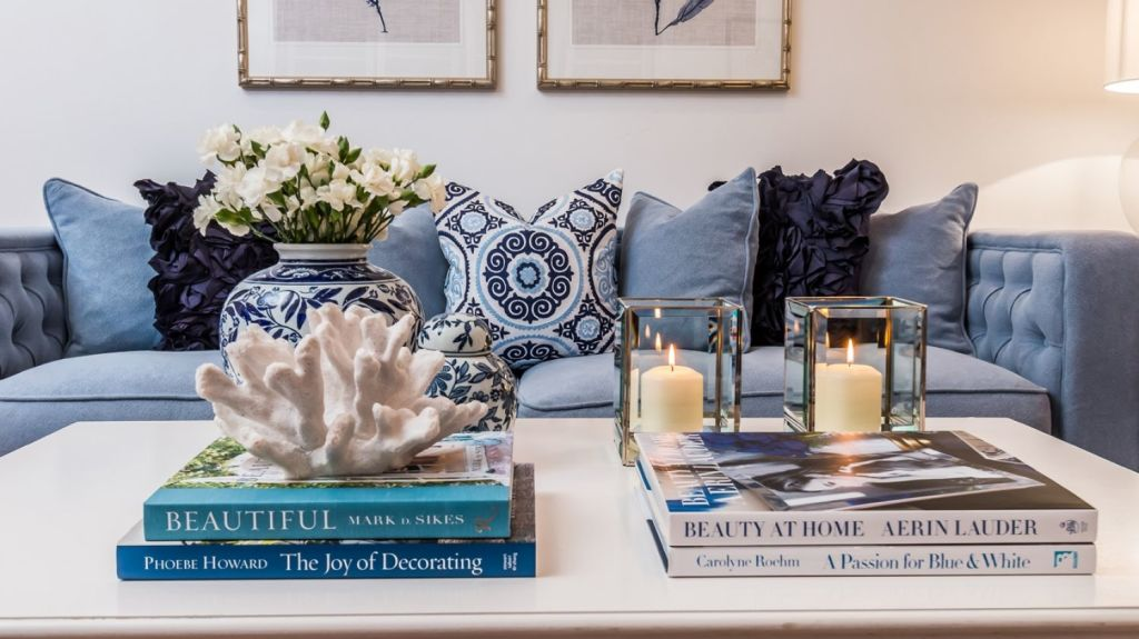 A 15-year-old linen sofa styled with $20 cushions. Photo: Cape Cod Residential and Real Estate Pics