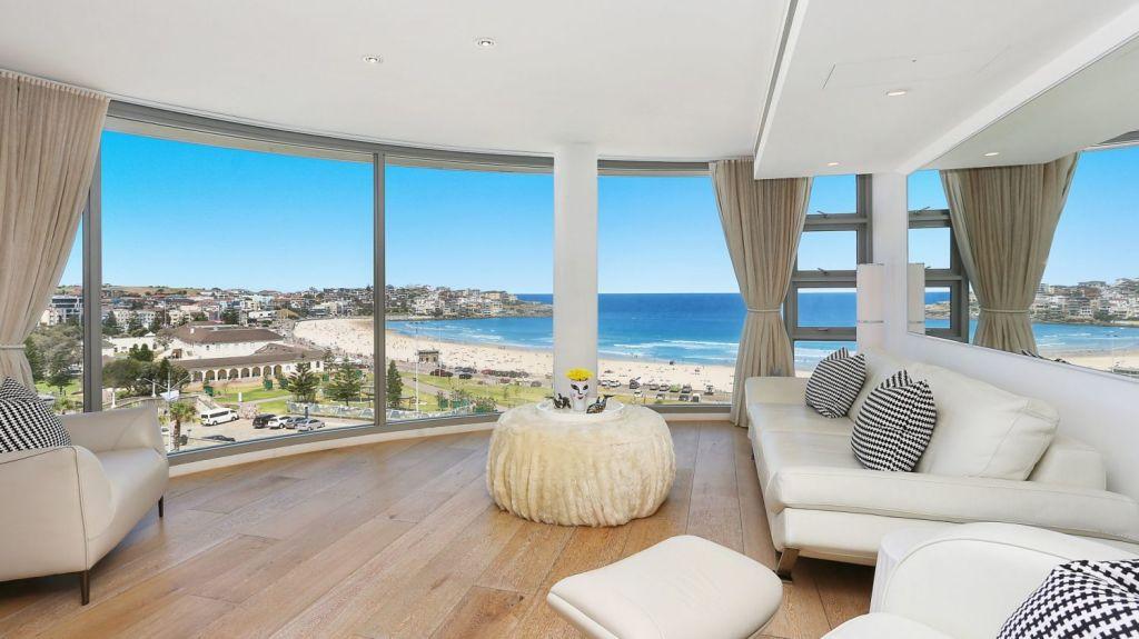 The living room at 602/152 Campbell Parade, Bondi Beach.