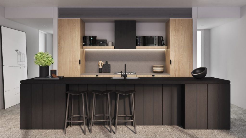 A modern kitchen created with convenience and style in mind at The Surry. Photo: Artist's impression
