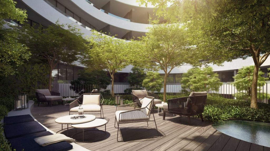 Landscaping plays a big part in the design, particularly with the ground-floor atrium garden. Photo: FloodSlicer