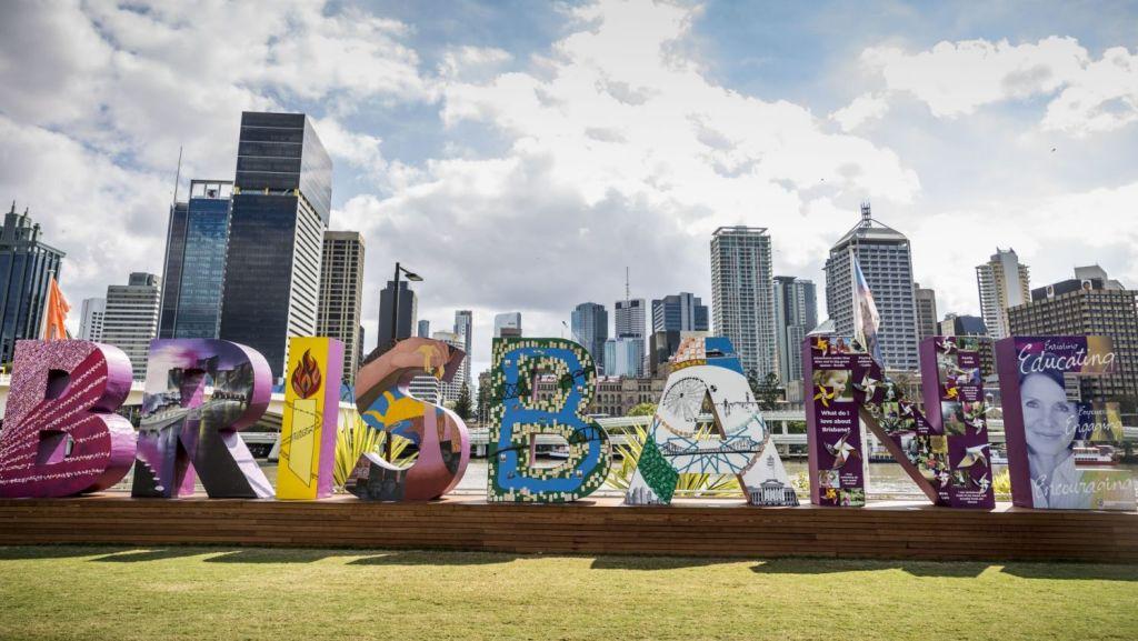 Southbank's iconic Brisbane sign. Photo: Glenn Hunt