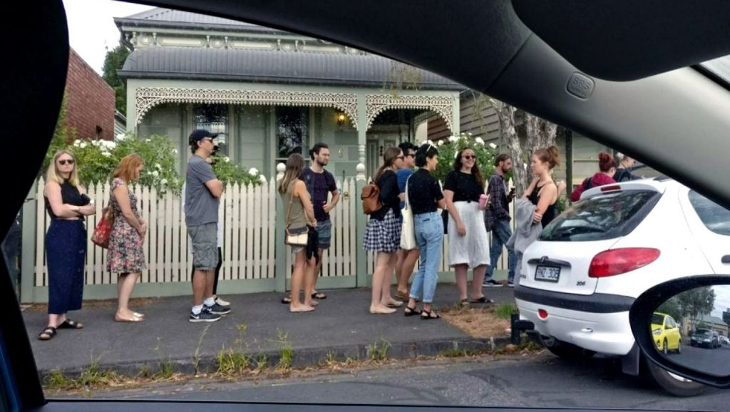People lining up to view a property this year in Brunswick, Melbourne. Photo: Ganesh Krishnan