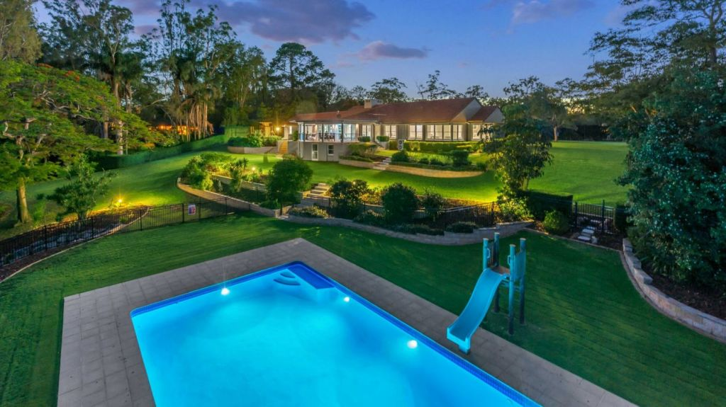 The Fig Tree Pocket property belonging to Brisbane richlister Bevan Slattery sold for $6 million. It was marketed by Jason Adcock of Adcock Prestige. Photo: Supplied