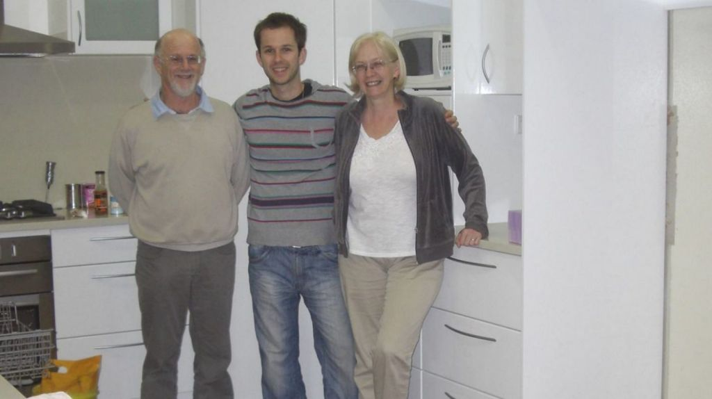 Pam Garfoot (right) on her final night in the home she lived in for 26 years. Photo: Supplied