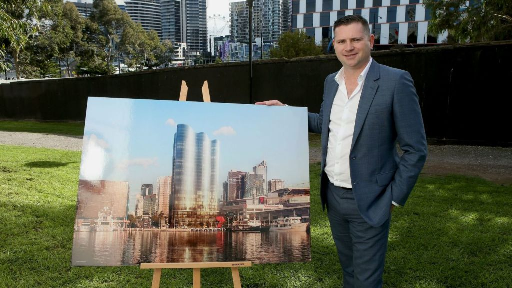 Salta Properties managing director Sam Tarascio at the Docklands project, which the company will lease out entirely. Photo: Pat Scala