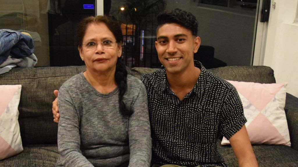 Radha Nair and her son, Vimal Nair, who manages Radha's Airbnb bookings on her behalf. Photo: Supplied