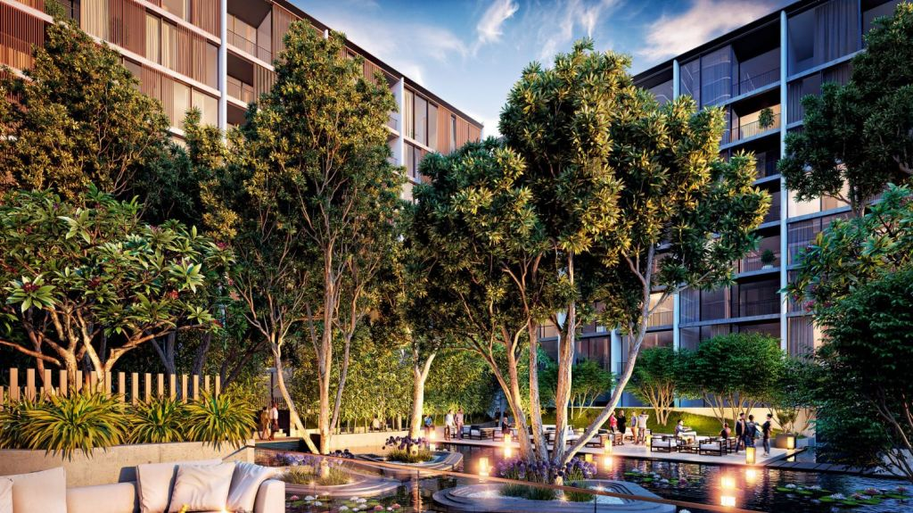 Creating nature in the inner-city: Waterfall apartments in Waterloo, by Crown Group. Image: Artist's impression