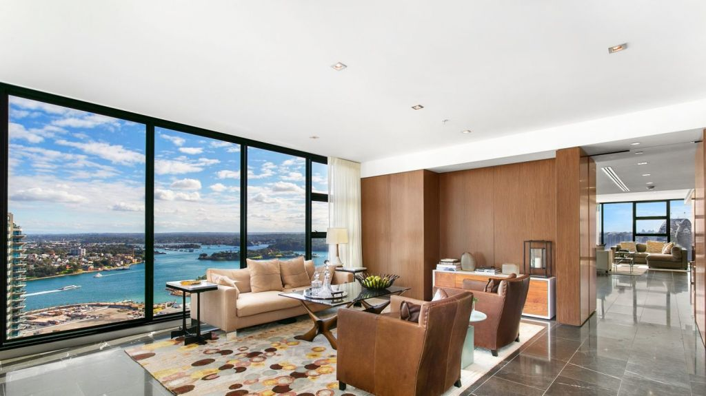 The apartment has marble-floorded living rooms, an internal lift and panoramic views. Photo: Supplied