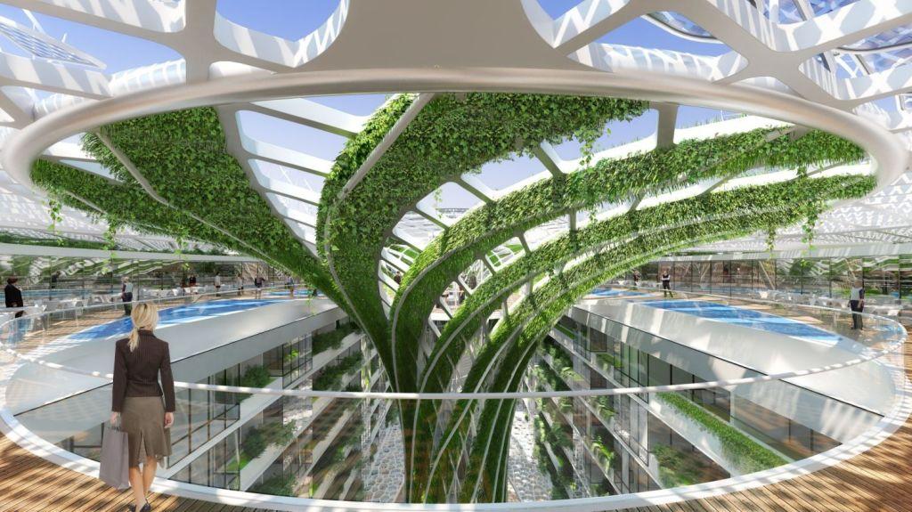 Celebrated Belgian ecological architect Vincent Callebaut designed the Gate Heliopilis. Photo: Vincent