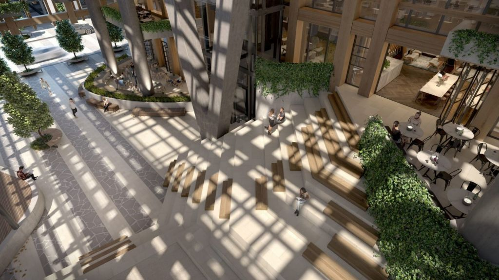 The atrium of Yarra One, by developer Eco Word, at 16-22 Claremont Street, South Yarra. Photo: Artist's impression