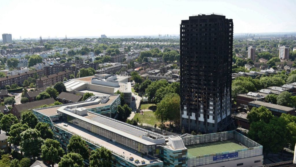 Grenfell Tower in west London after a fire engulfed the 24-storey building last week. Photo: PA