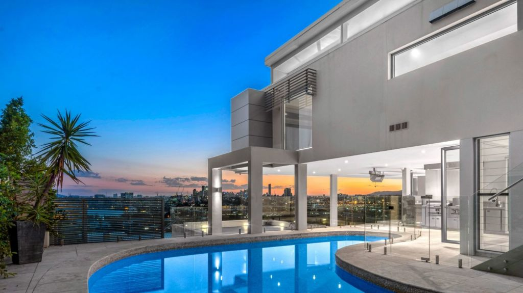 The Crosby Road house in Brisbane has panoramic 180-degree views of the city and Moreton Bay through to Mount Coot-tha. Photo: Supplied