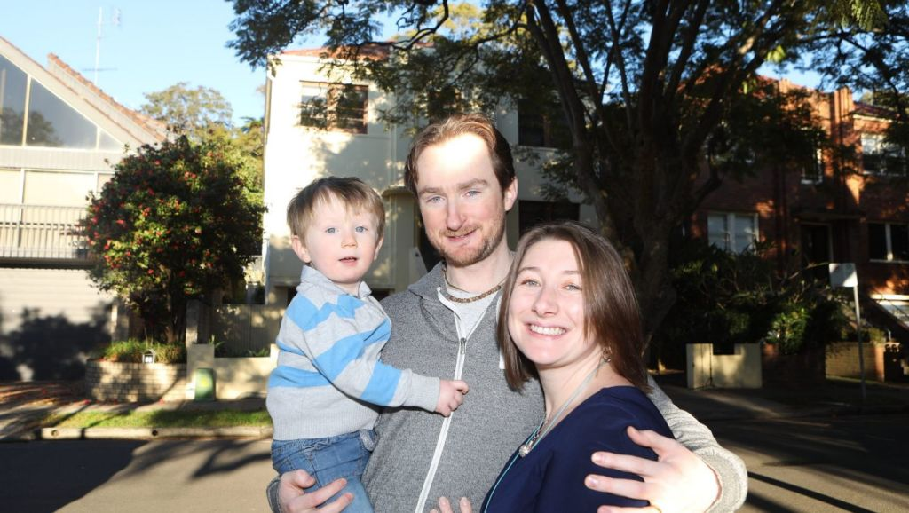 Claire Mullarkey and her husband Joseph Goodbrand have lived in an apartment block for five years - and decided to stay put after the birth of their son Orion. Photo: Daniel Munoz