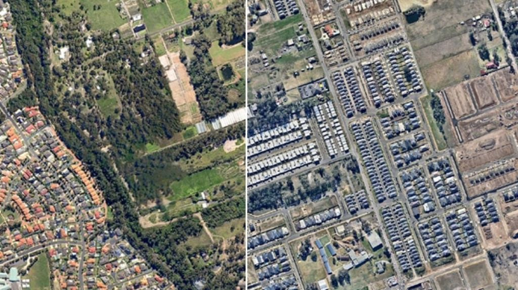 Kellyville has changed dramatically over time. Photo: Nearmap