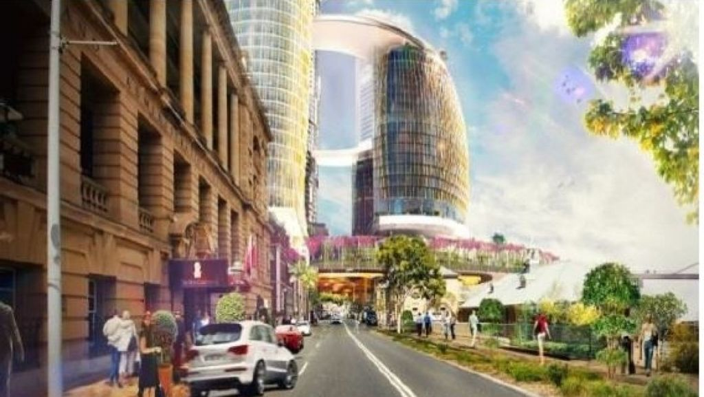 William Street looking east in the future, with Treasury at left and Printery and former DPI building further along streetscape. Photo: Destination Brisbane Consortium