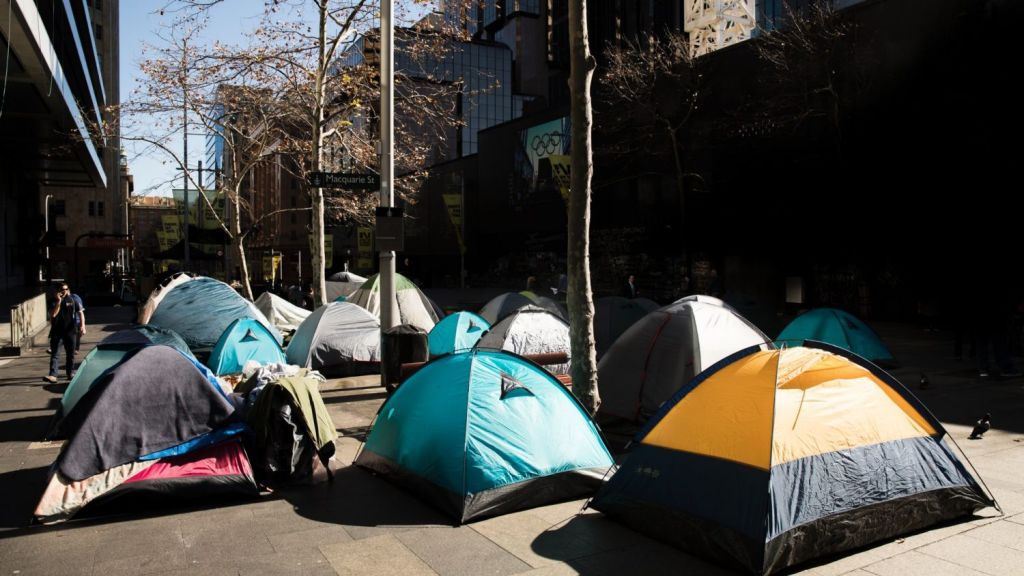NSW Premier Gladys Berejiklian urged Sydney Lord Mayor Clover Moore to move on a tent city in Martin Place. Photo: Jessica Hromas