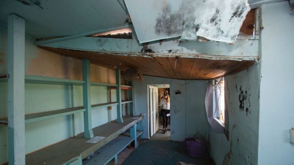 The ceiling in one room was starting to cave in. Photo: Fiona Morris.