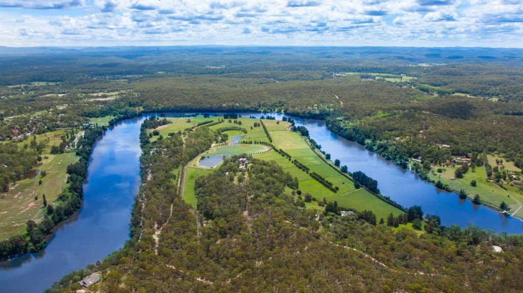 Sweven sits on 57 hectares on the Hawkesbury River. Photo: Supplied