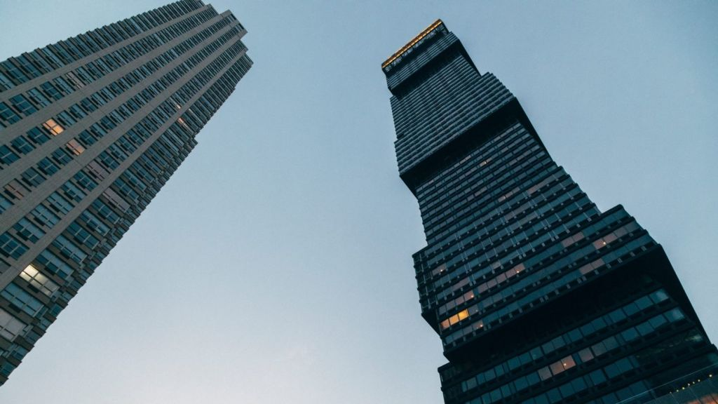 The 69-story Urby building in Jersey City. Photo: The New York Times.