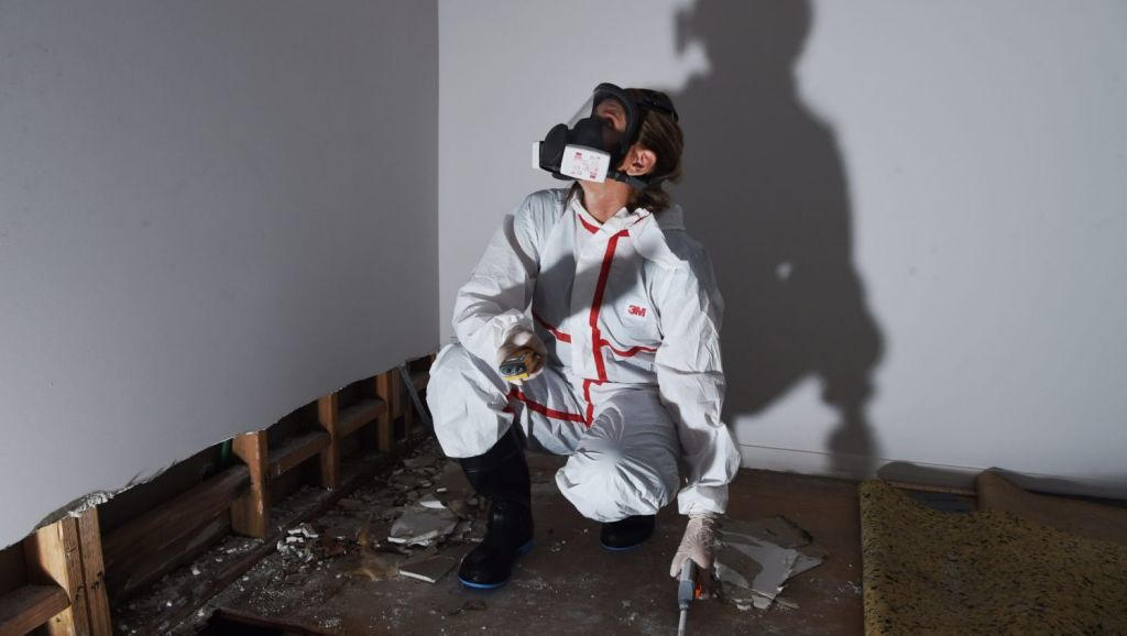 Jeanette Williams, a building biologist with EcoLibria tests a home in Sydney's north for dangerous mould. Photo: Nick Moir