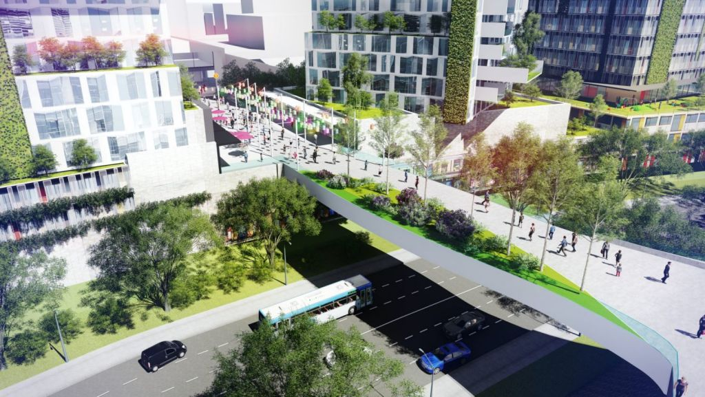 The plan includes a pedestrian land bridge over the busy Concord Road which would better connect the west and east sides of the suburb. Photo: Supplied.
