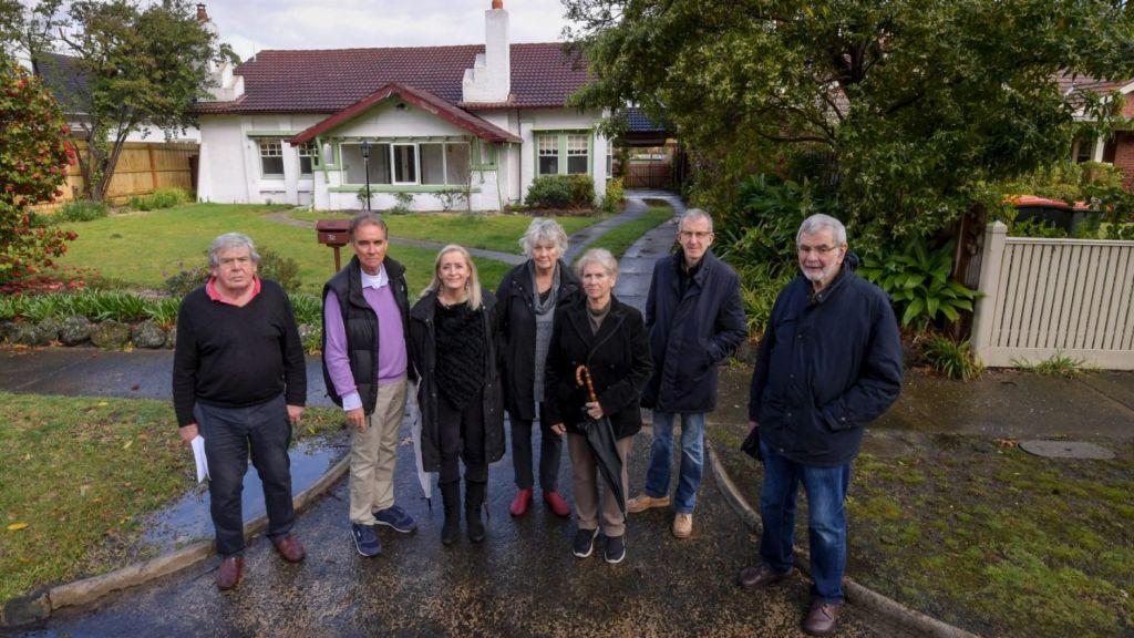Sunnyside Avenue residents (left to right) Richard Millington, Bryan and Ann O'Connell, Glennys Millington, Toinette Dwyer, Tom White and John Henwood Photo: Eddie Jim