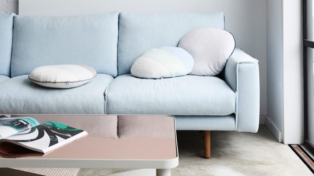Lounge and coffee table by Jardan and cushions by Kate and Kate. Photo: Eve Wilson