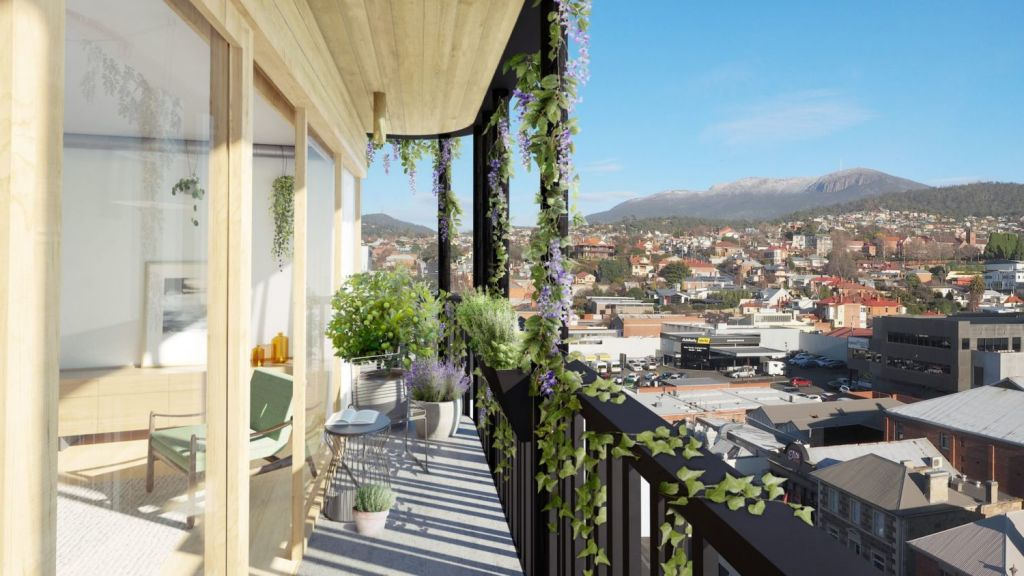The Commons Hobart will have 30 one, two and three-bedroom apartments that face north and give all buyers power-producing sun exposure along with views of Mount Wellington. Photo: Small Giants Developments