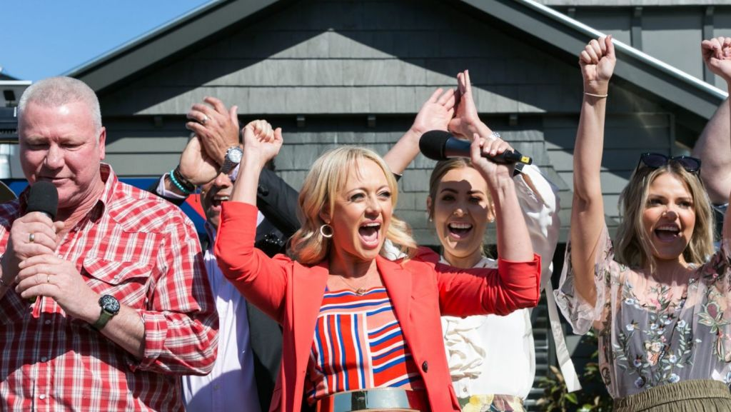 The judges and contestants of Channel Nine's The Block were met with screams as thousands of fans came to inspect this season's Elsternwick homes. Photo: Greg Briggs