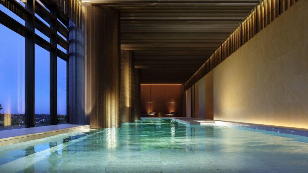 Residents will be able to use facilities like the communal pool or retreat to their apartments for spa treatments. Photo: Artist's impression