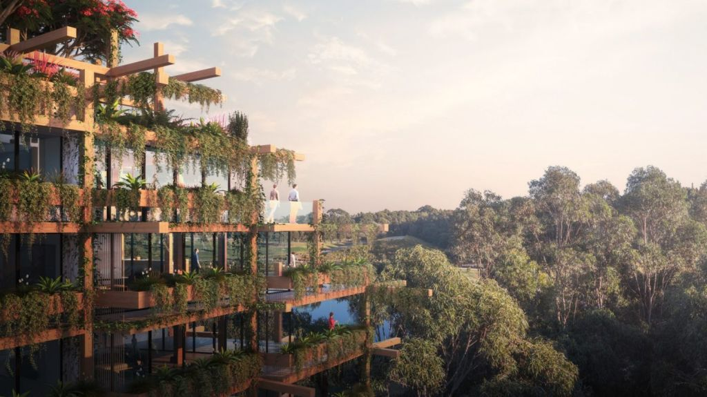 A render of the aptly named Amber Treehouse at One Sydney Park, Alexandria. Photo: Hessian Design