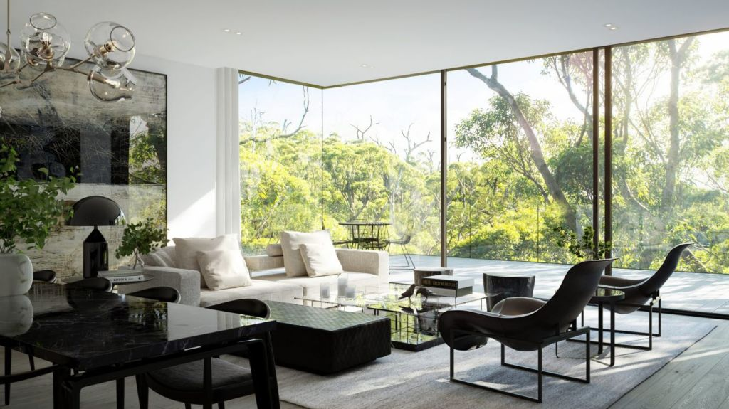 Floor-to-ceiling glass showcases views of tree canopies from the living areas. Photo: Artist's impression