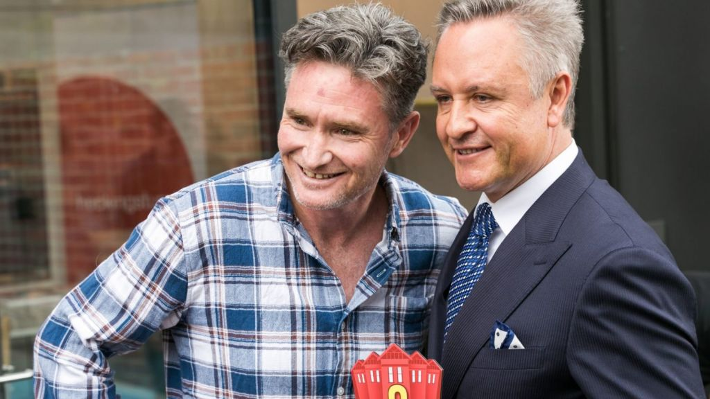 Comedian Dave Hughes with buyers' advocate Greville Pabst, who acted for Hughes at the auction. Photo: Greg Briggs