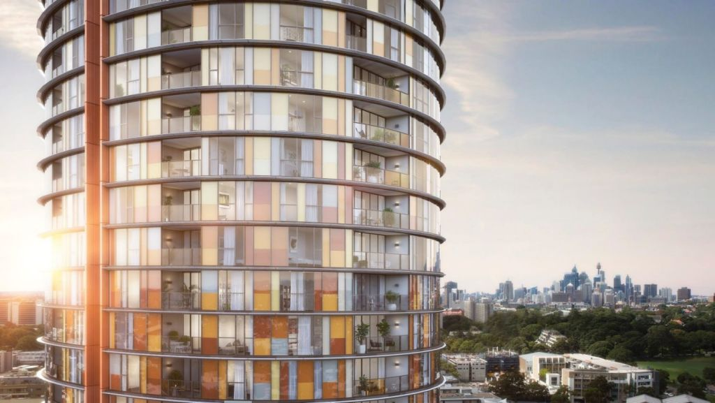 Ovo tower is clad in 1794 panels of 134 different shapes and 17 colours.