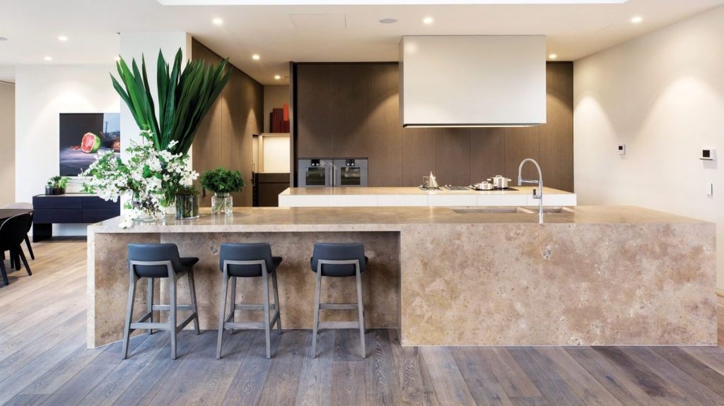 The state of the art kitchen integrates the technology of a commercial kitchen and the style expected of Toorak. Photo: Marshall White