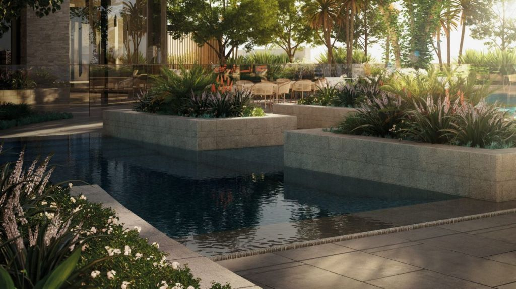 Melbourne Square's resort-worthy 25 metre pool. Photo: Supplied