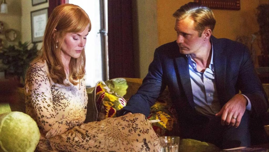 Nicole Kidman with her on-screen husband (Alexander Skarsgard) in <i>Big Little Lies</I>, which rumour suggests was inspired by the Avalon Beach community.