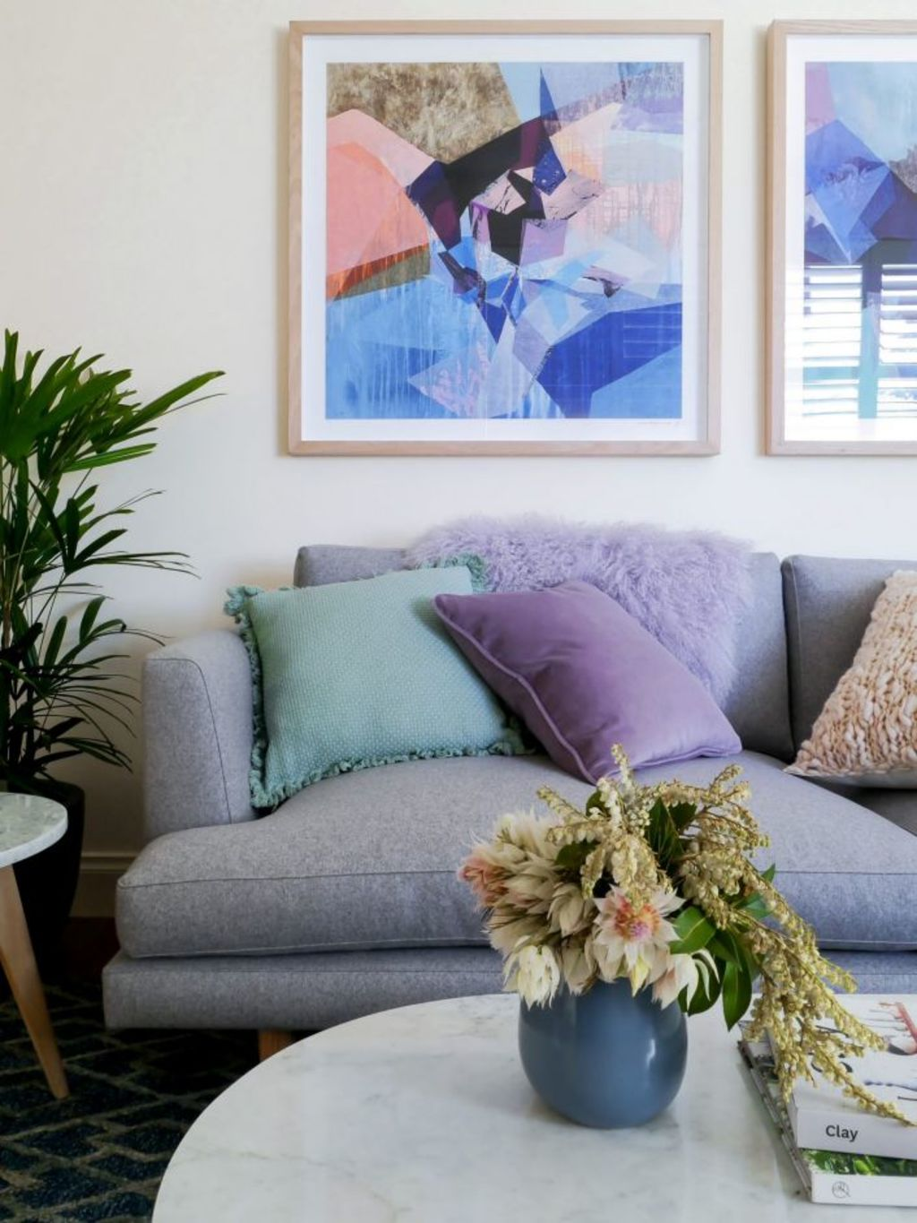 Shades of blue, grey and pastel bring the once white room to life with colour. Photo: Photo: Kate Hansen - The Room Illuminated. Styling: Michelle Hart and Zarina Fernandez