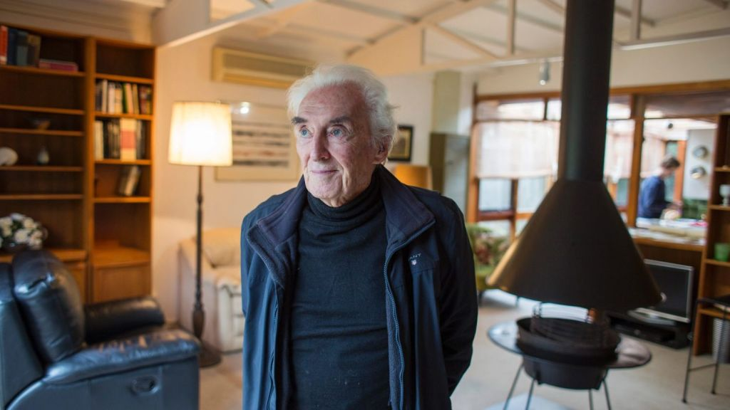 Architect Peter McIntyre inside the Beaumaris house he designed 61 years ago. Photo: Stephen McKenzie