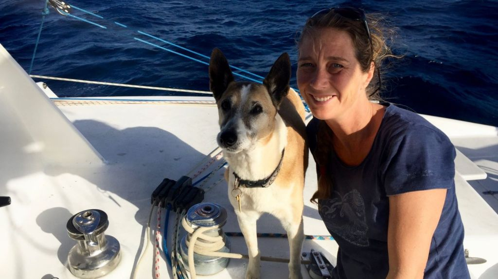 Susie Willison on board the family's 45-foot catamaran, Queimarla.