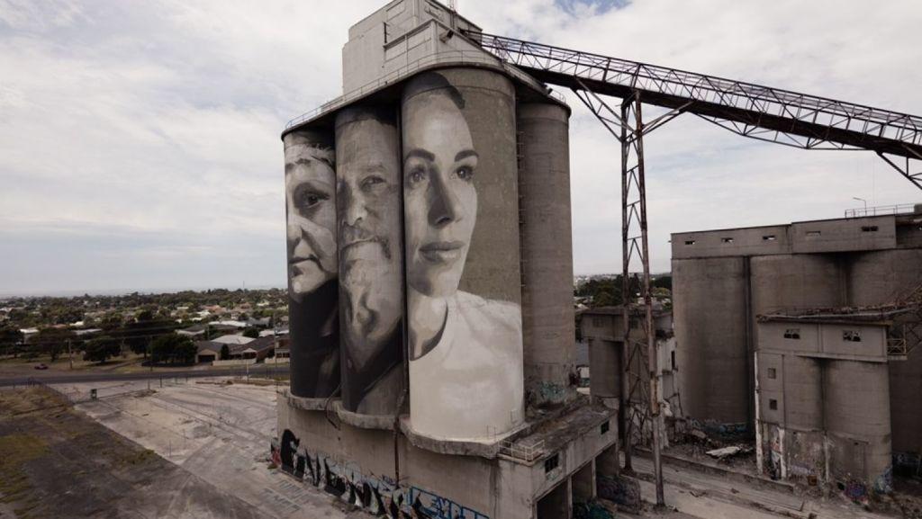 The silos had been described as ''an eyesore'' but now present a more appealing facade. Photo: Supplied.