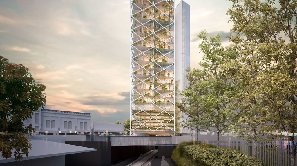 The building would hover above the Sandringham rail line. Photo: SMA Projects