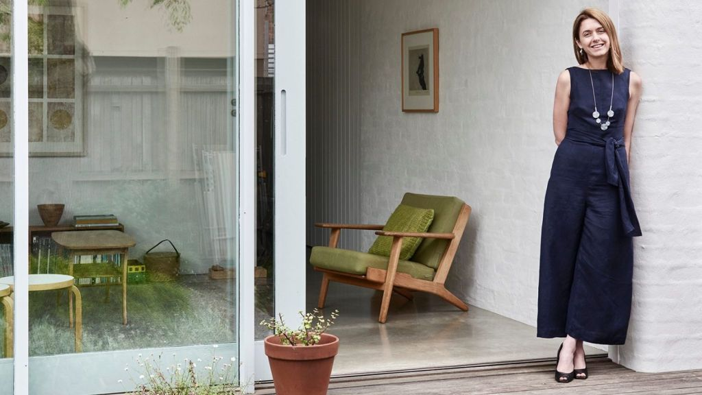 Amy Hallett of Topography Studio, pictured out the back of her Albert Park Home. Photo: Eve Wilson | Styling: Lucy Feagins