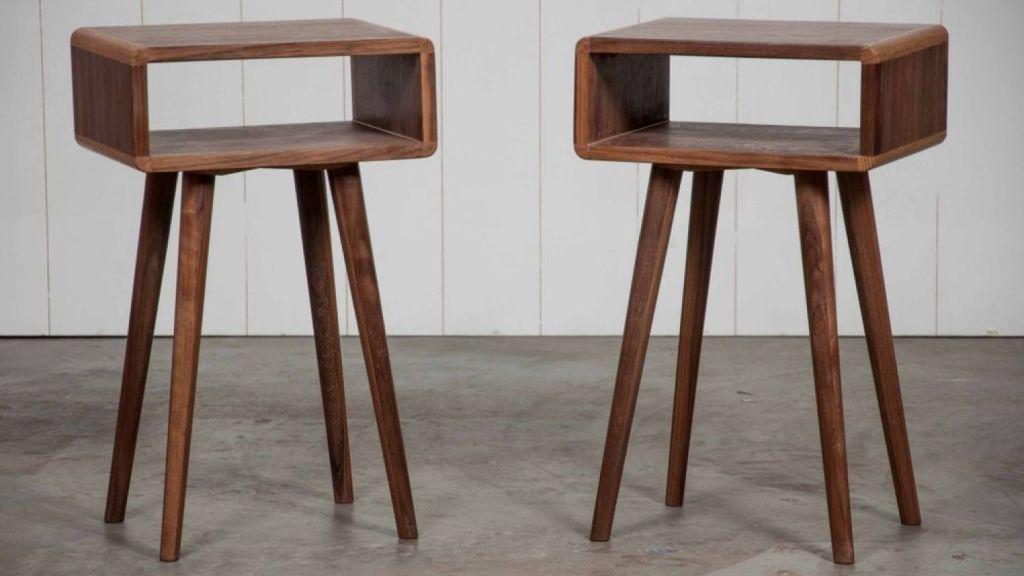 Walnut and oak bedside tables. Photo: Saltwood Designs