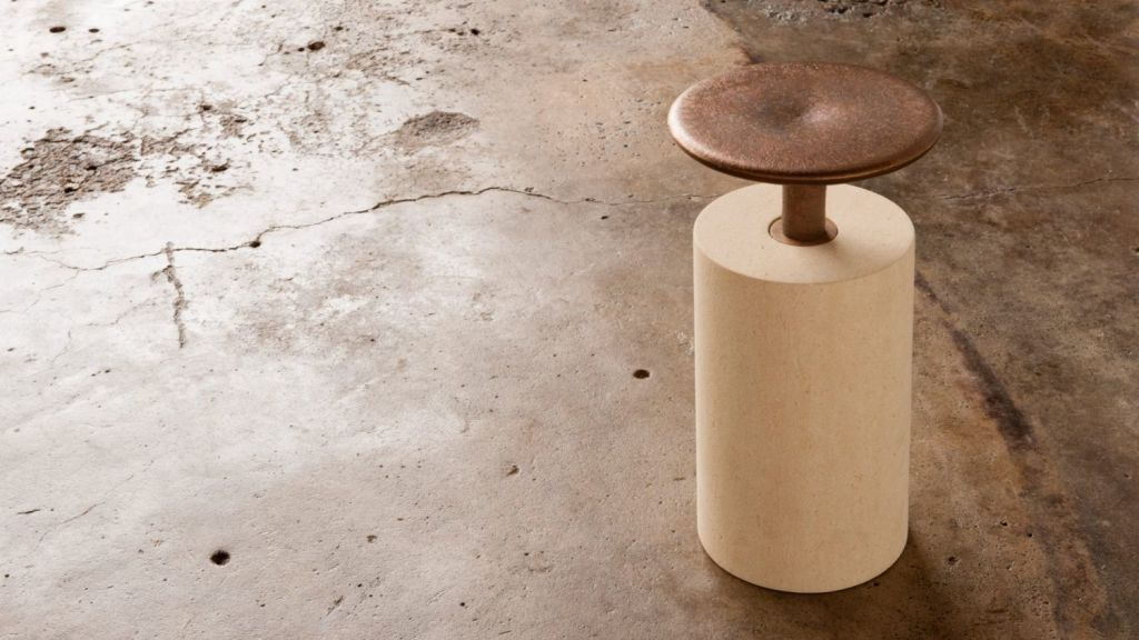 Bronze and Limestone Stool by Inkster. Photo: Cricket Studio