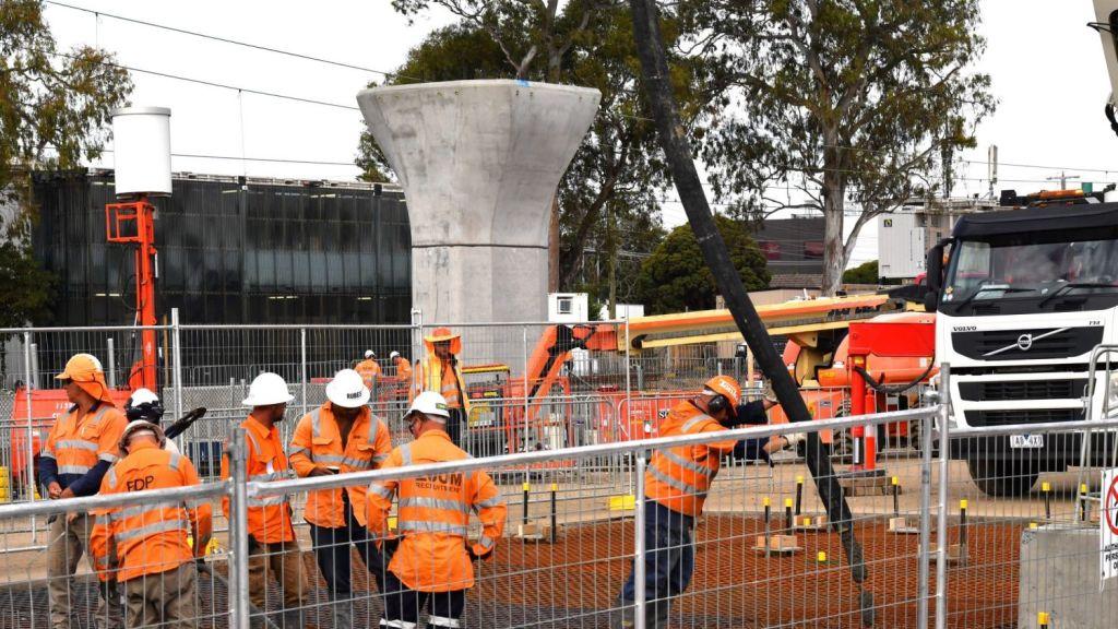 The result: concrete columns running through the suburb's main arterials. Photo: Joe Armao