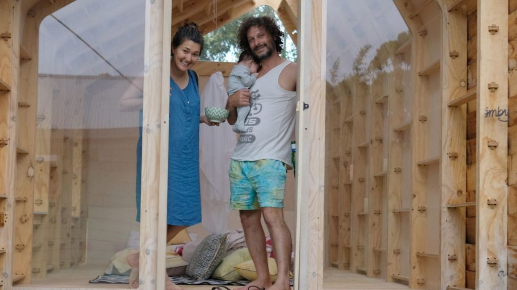 Adriano Pupilli, his wife Fiona, and their baby show the advantages of add-on living. Photo: Supplied