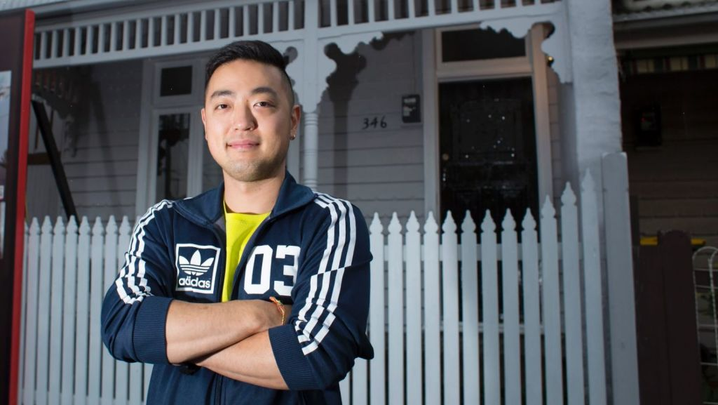 Property owner Jonathan Kim is selling his Fitzroy North house next weekend. He is confident it will fetch a strong price despite Melbourne's slow house-price growth. Photo: Stephen McKenzie