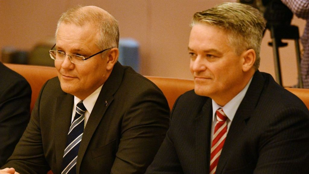 Treasurer Scott Morrison and Finance Minister Mathias Cormann prior to delivering the Budget. Photo: (AAP Image/Mick Tsikas)