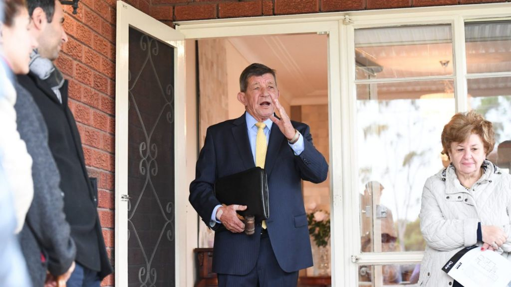 Domain, Sydney. Saturday Auction-by Devine Real Estate, Drummoyne - 48 Preston Avenue, Five Dock. NSW. Story Tawar Razaghi -Photo shows, he auctioneer Peter Etheridge selling the free-standing home, a 3 bedroom house. Photo: Peter Rae. Saturday, 12 May, 2018. Photo: Peter Rae SMH